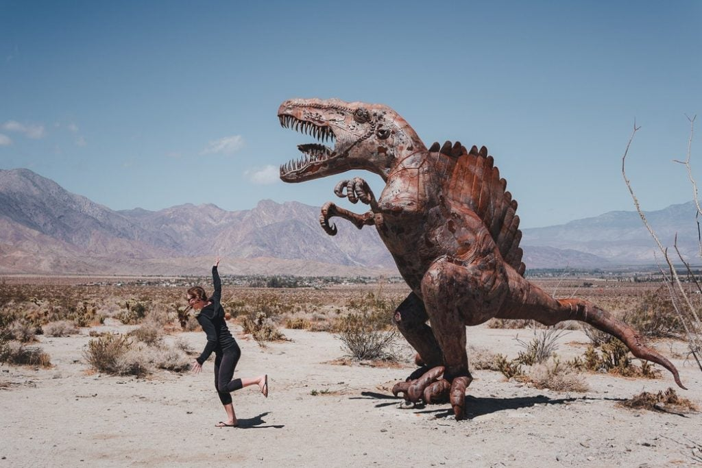 running from a dinosaur monument in the anza borrego desert
