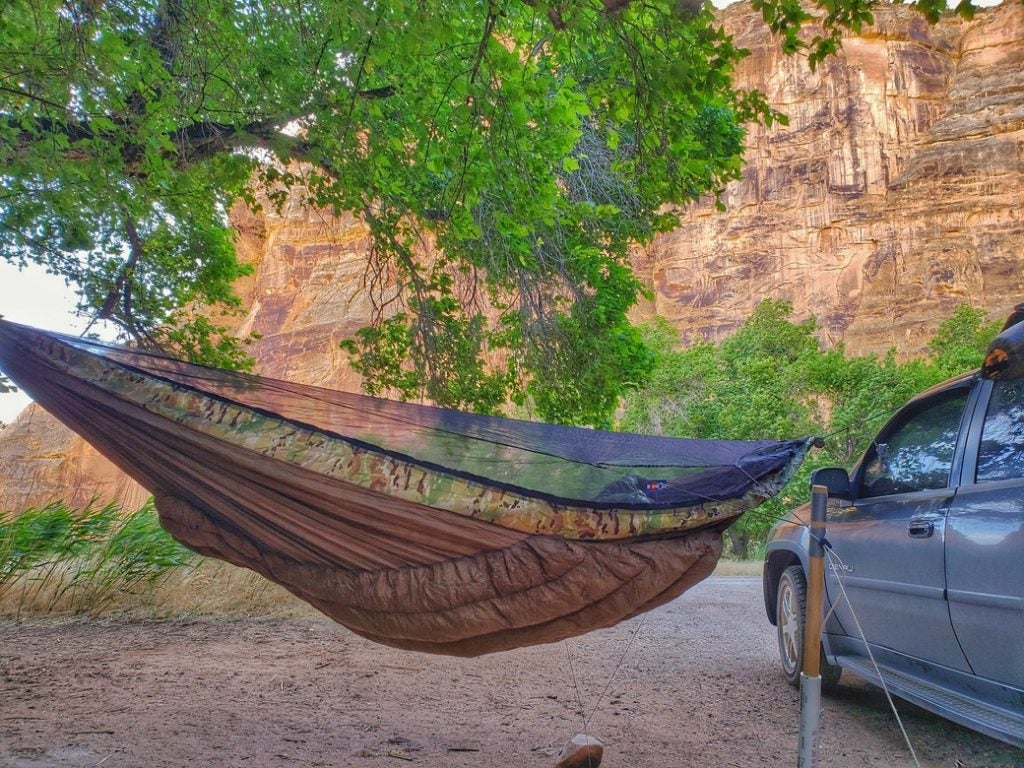 Dinosaur National Monument Camping with a hammock and car at echo park campground