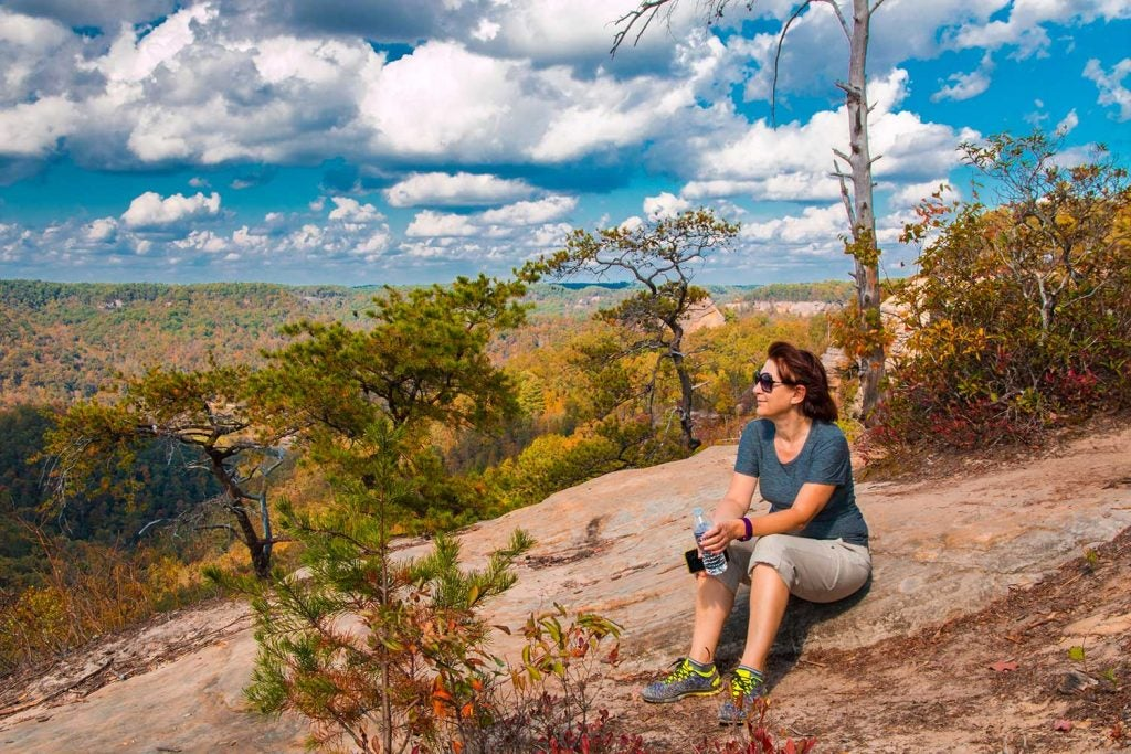 woman enjoying scenic campgrounds in kentucky