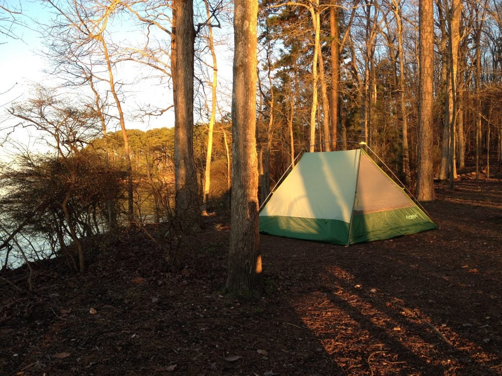 waterfront campsite in georgia state park during sunset