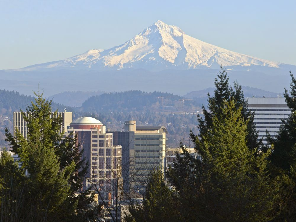 mt hood over the portland, oregon skyline
