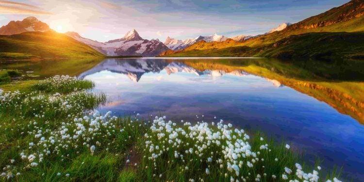 alpine lake view at sunset