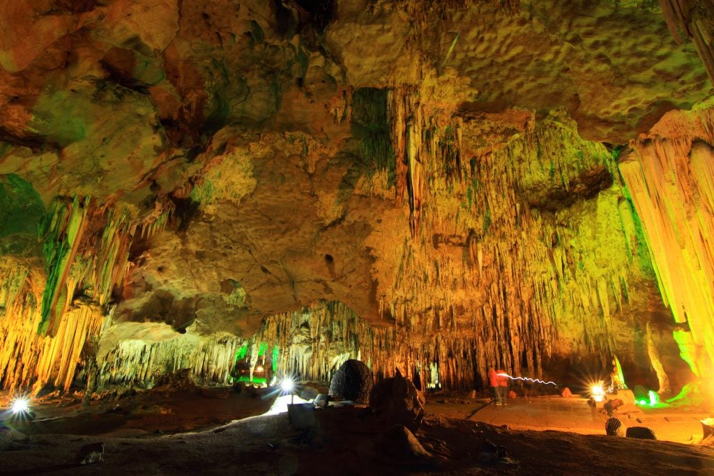 mythical beasts live in this underground cavern lit up by green lights