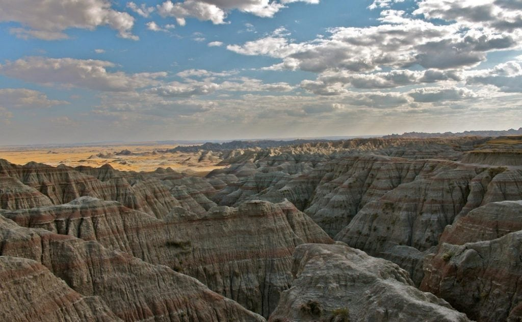 panoramic view of badlands canyon where mythical beasts live