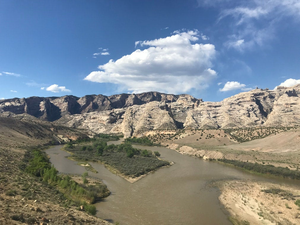 panoramic view of the murky looking Green River