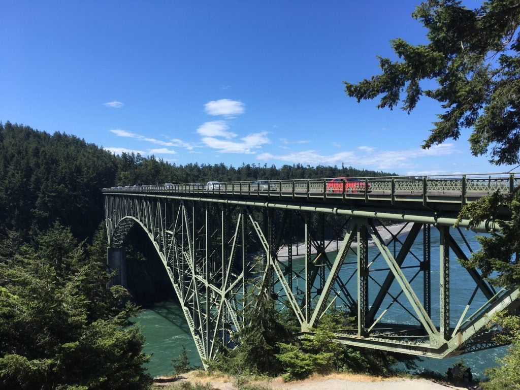 traverse high bridge on a clear day in deception pass state park