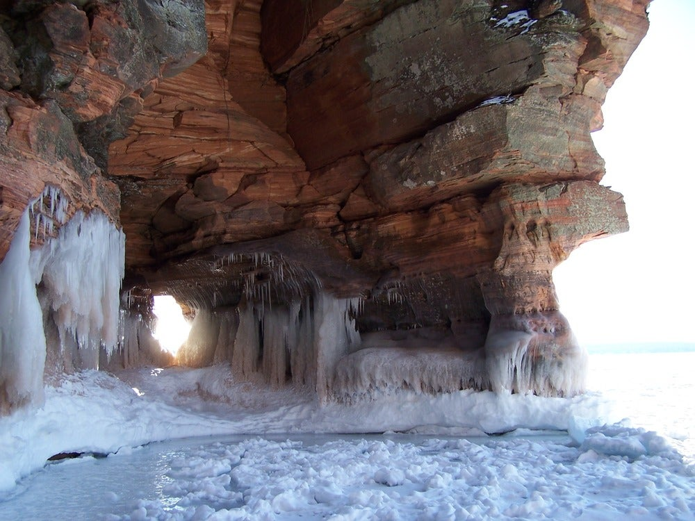 Ice forms on the cliffs along the shore of Apostle Islands
