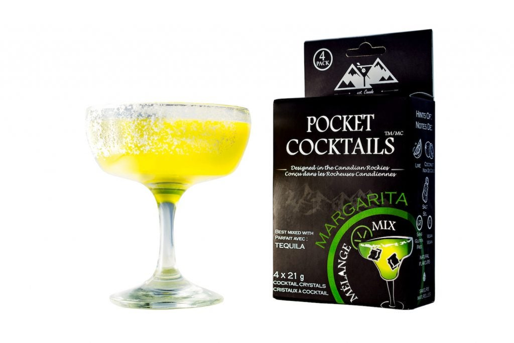 frozen margarita beside a package of pocket cocktail mix