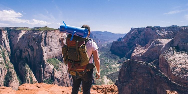 a backpacker overlooks the zion national park canyon
