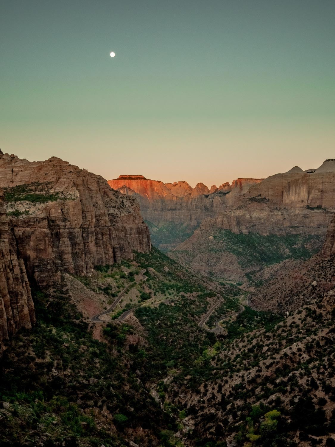 panoramic view of Zion Canyon at dusk with moon in sky