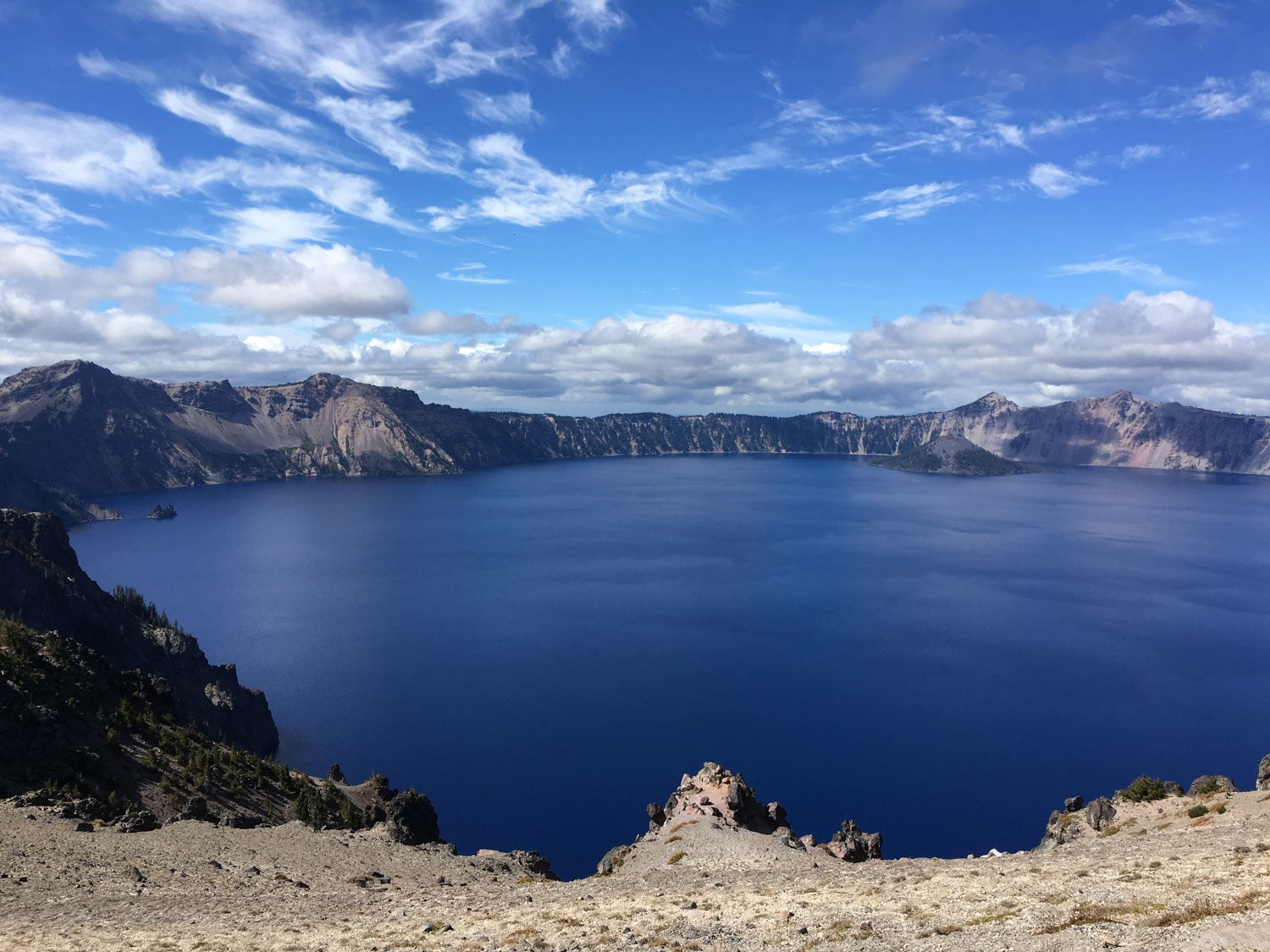 panoramic view of crater lake on a clear day