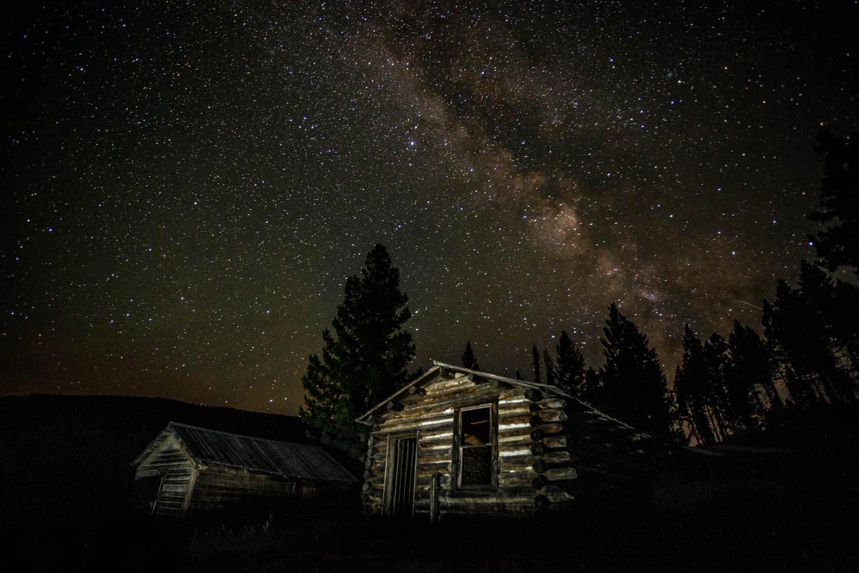 Milky Way over Garnet Ghost Town, Montana