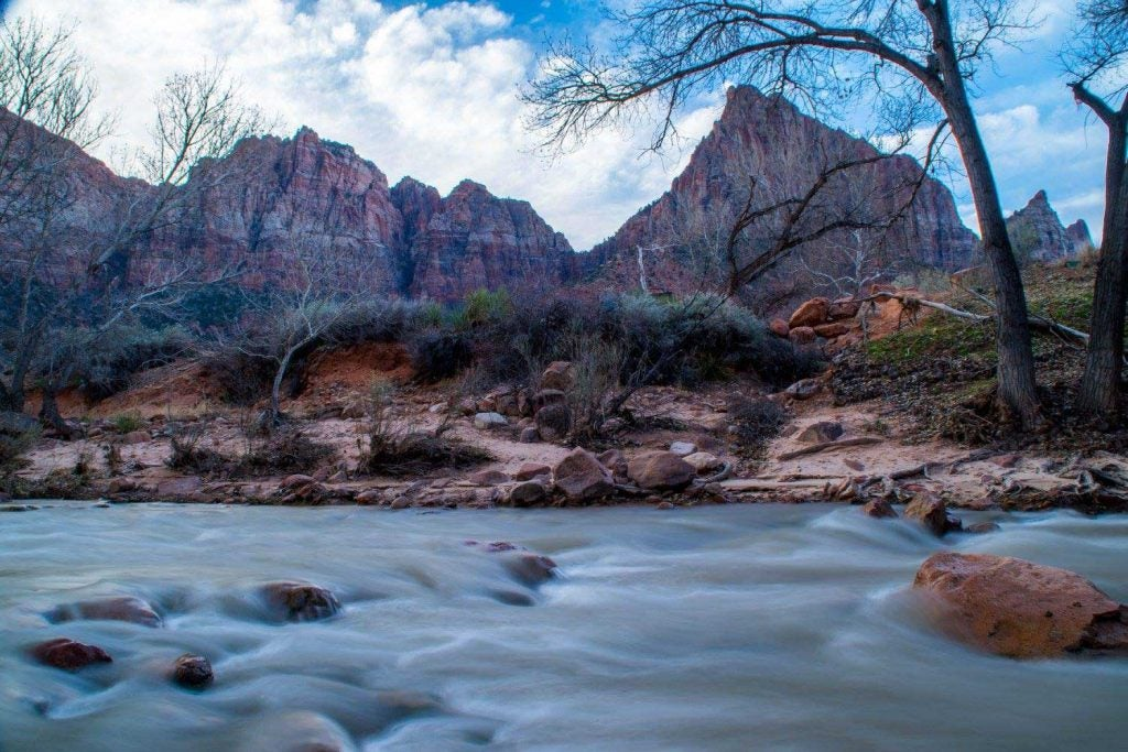 the virgin river on Pa'rus trail in zion canyon