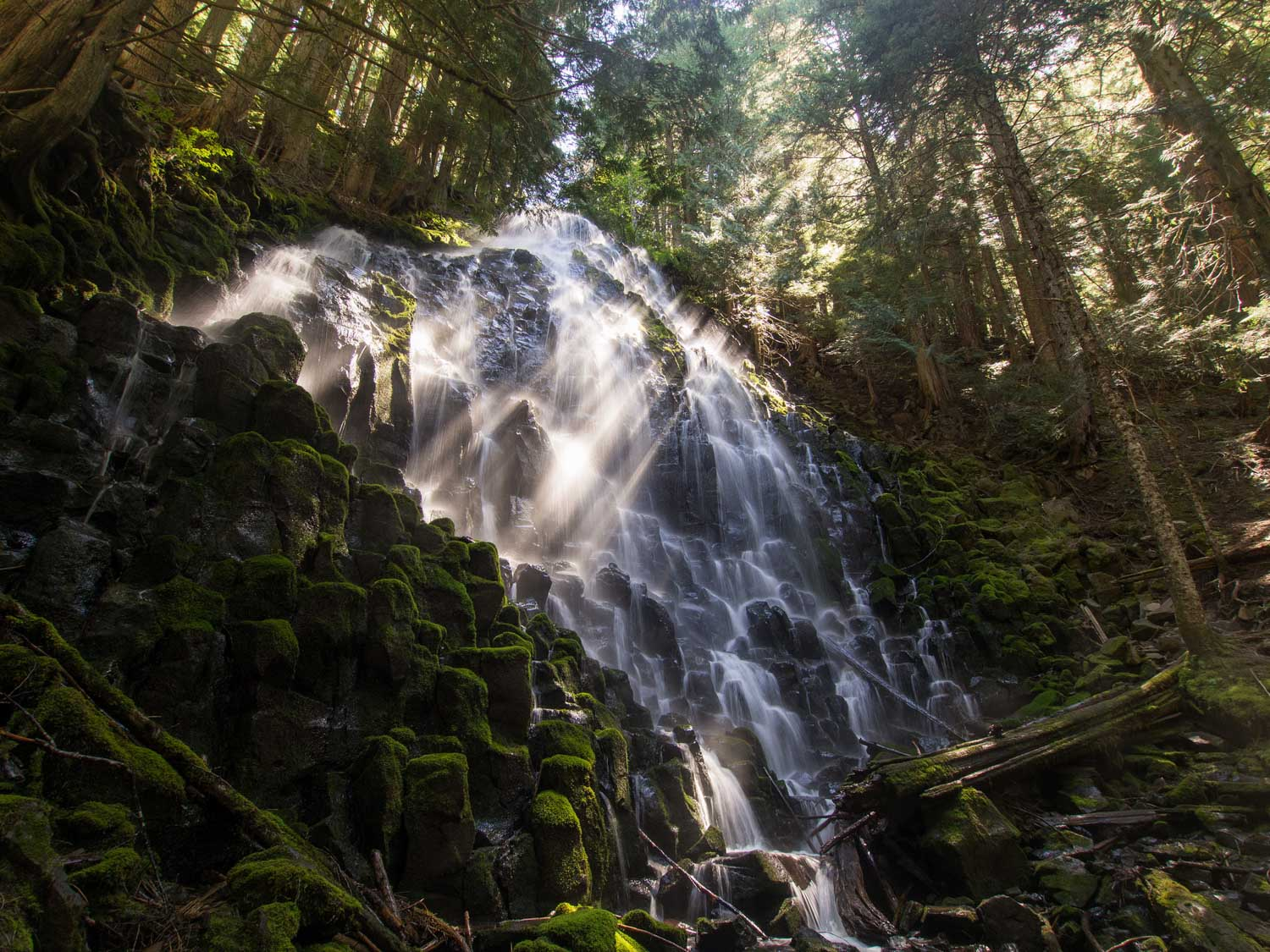 ramona falls cascading down rocks in Oregon's Mt. Hood National Forest