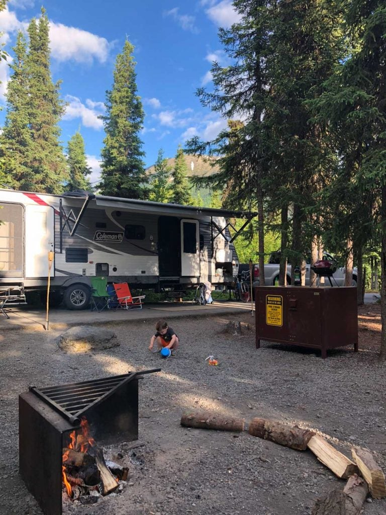 Russian River camping rv setup on a clear day
