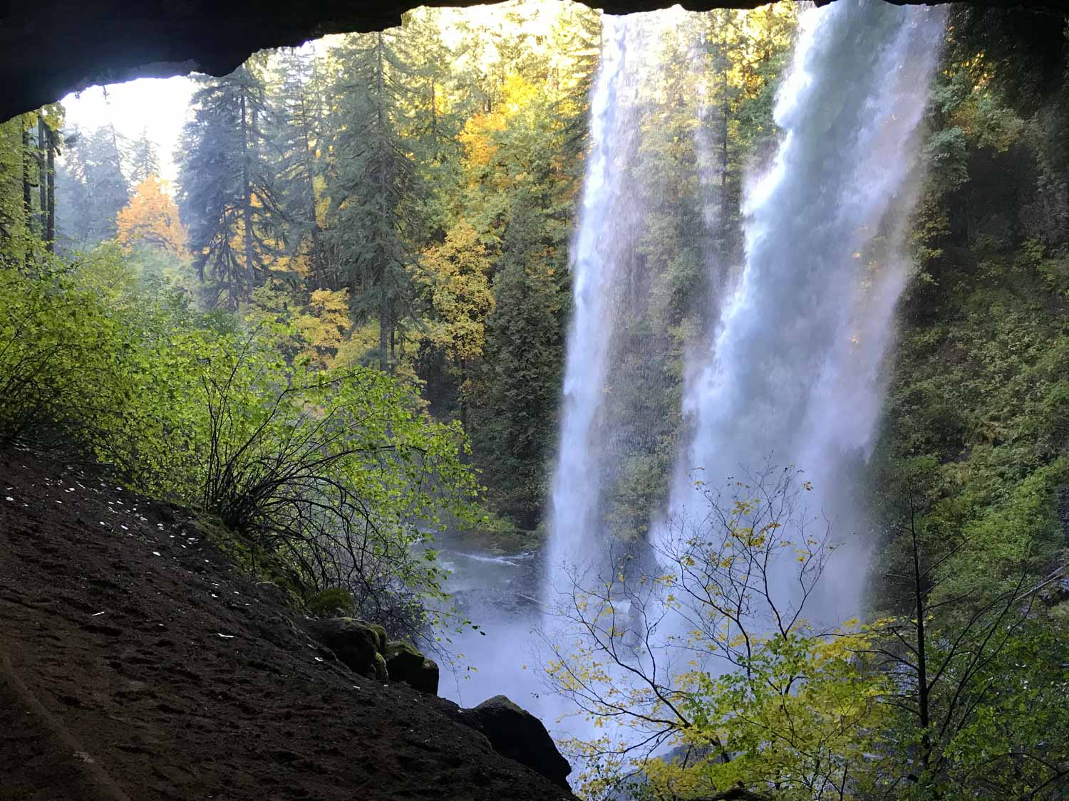the South Falls of Silver Falls State Park, as seen from a cave behind the falls