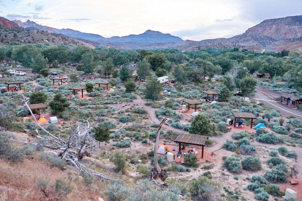 Watchman Campground as seen from above, just one camping option for Zion National Park hikes