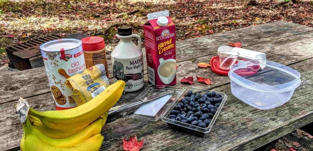 fresh ingredients for easy breakfast recipes at the campground