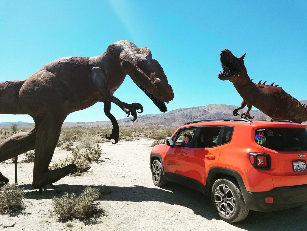 parked beneath dinosaur monuments in the anza borrego desert