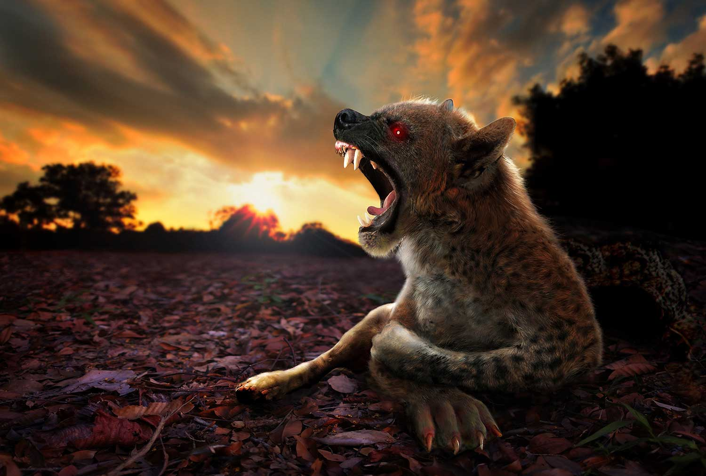 mythical beasts chupacabra howls at sunset