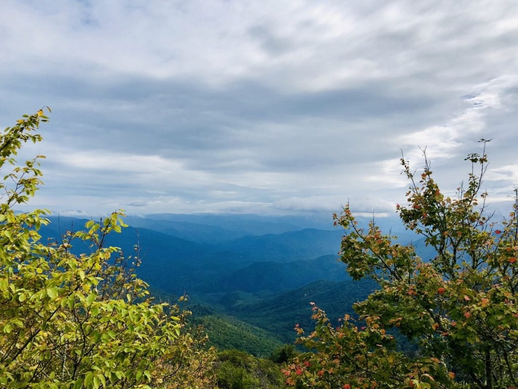 hazy blue views in the Great Smoky Mountains National Park