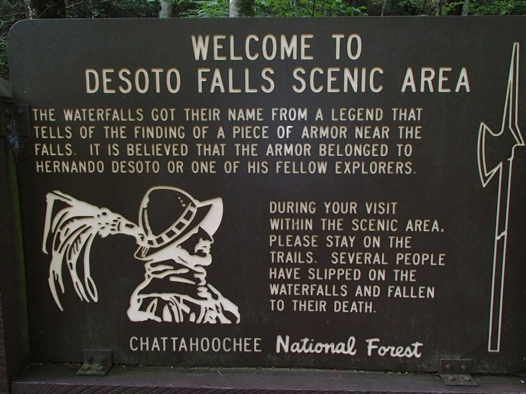 Legend has it that an armored chest plate from 15th century explorer Hernando DeSoto has been discovered in the DeSoto Falls area.