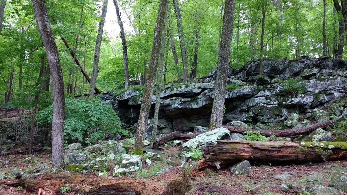 Rock formations along the wooded Cunningham Falls trail