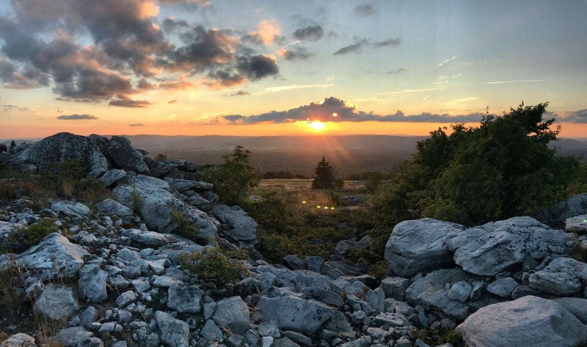 sunset over rocky cliff at dolly sods