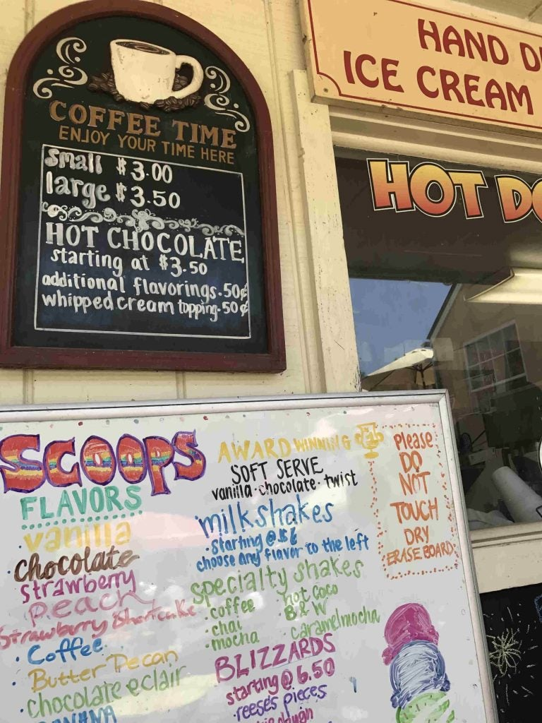 ice cream and coffee menus at a harpers ferry sweet shop