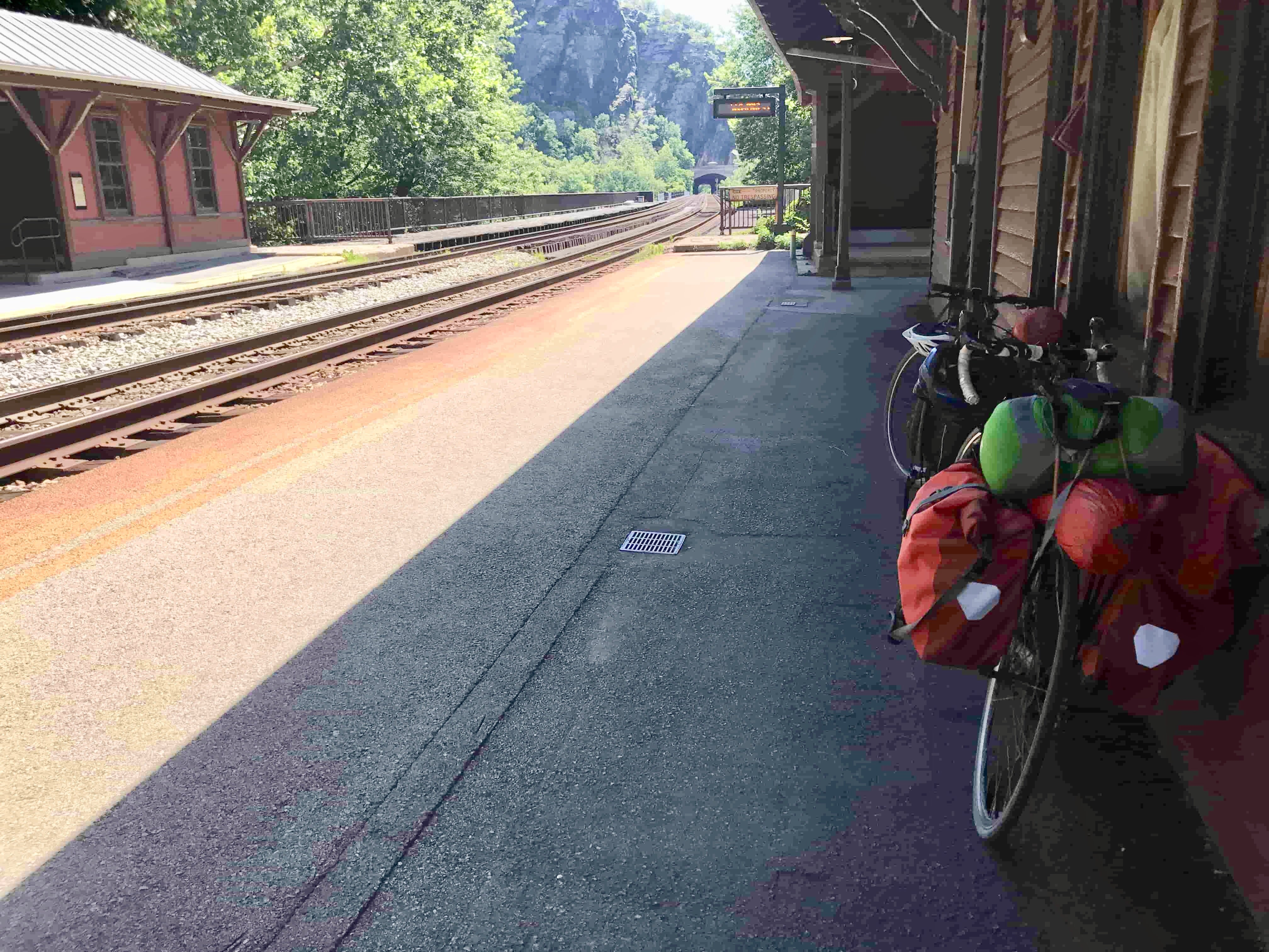 bike resting at an amtrak station after biking the c&o canal towpath
