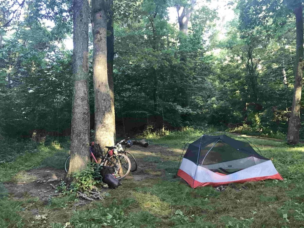dispersed campsite from cyclists along the c&o canal towpath
