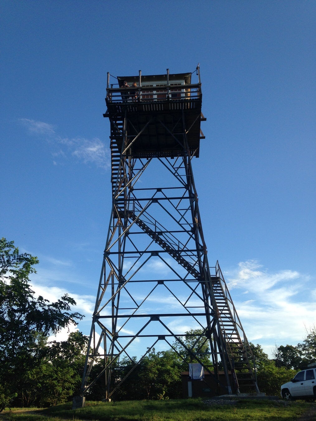 worms eye view of the thorny mountain fire tower on a clear day