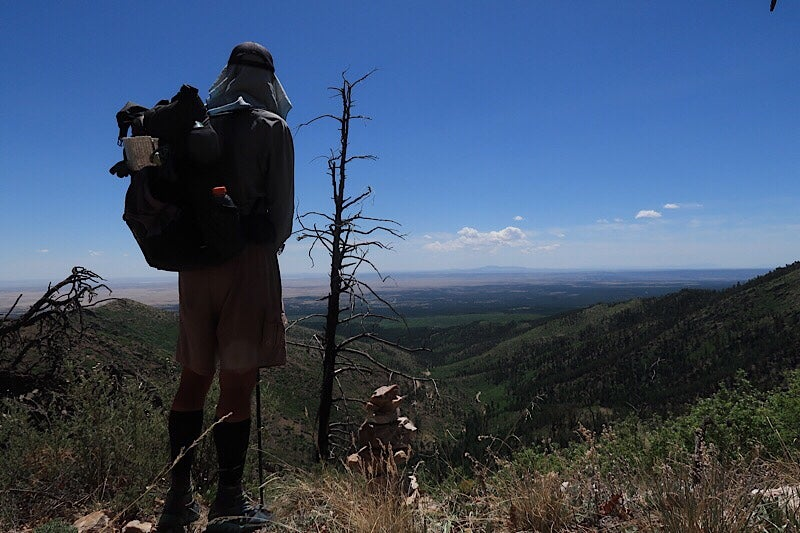 hiker stands on an overlook in the manzano mountains on a clear day