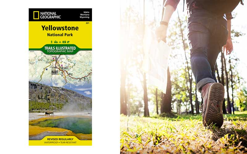 photo of yellowstone map next to hiker holding a map of his own