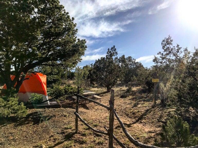 orange tent at rancheros de santa campsites