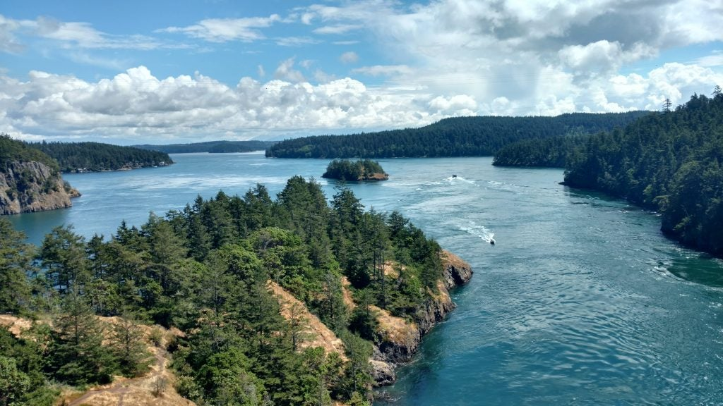 Panoramic view of the San Juan islands with boats