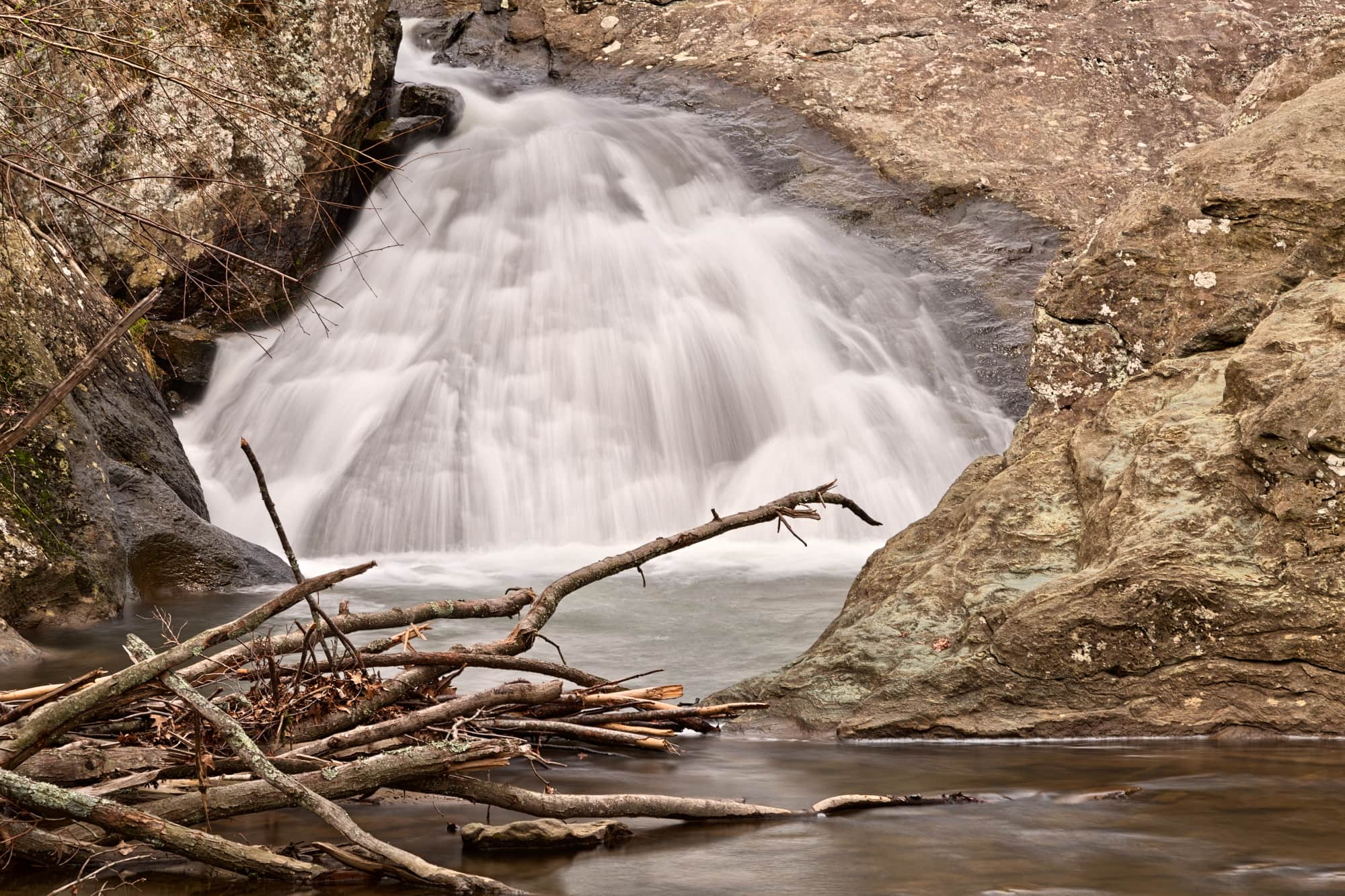 Cunningham Falls flowing in the winter months