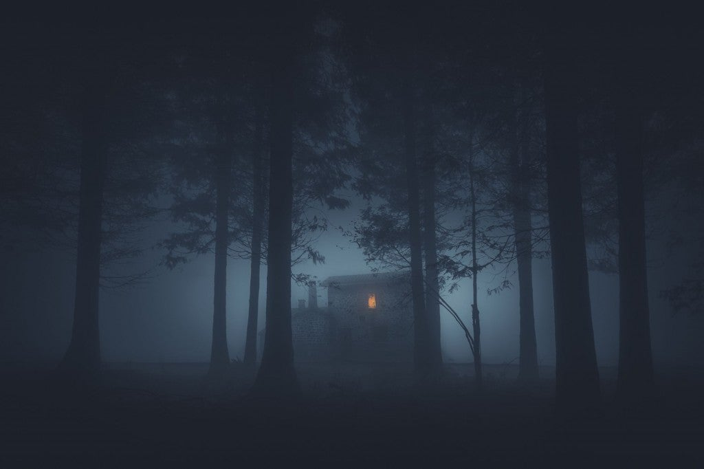 house with illuminated window visible in a spooky foggy forest