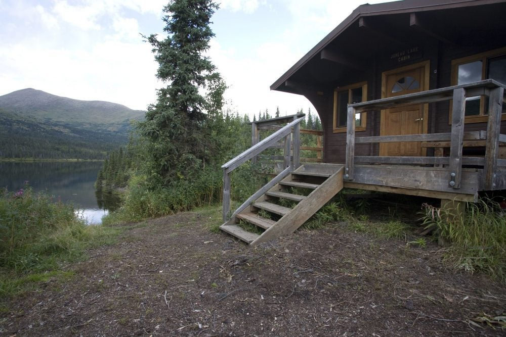 juneau lake cabin in the spring
