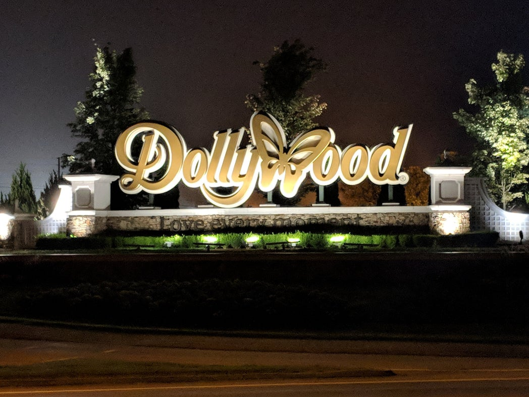 dollywood sign lit up at night