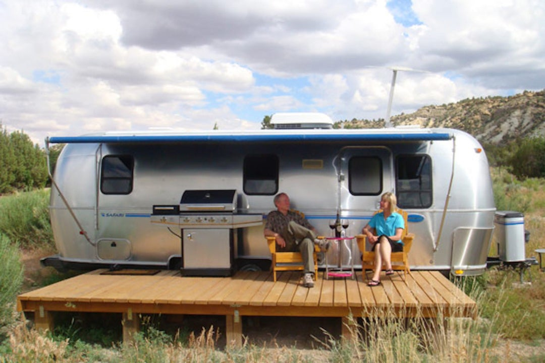 A vintage trailer airstream decorated like Robert Redford's own during filming of butch cassidy and the sundance kid