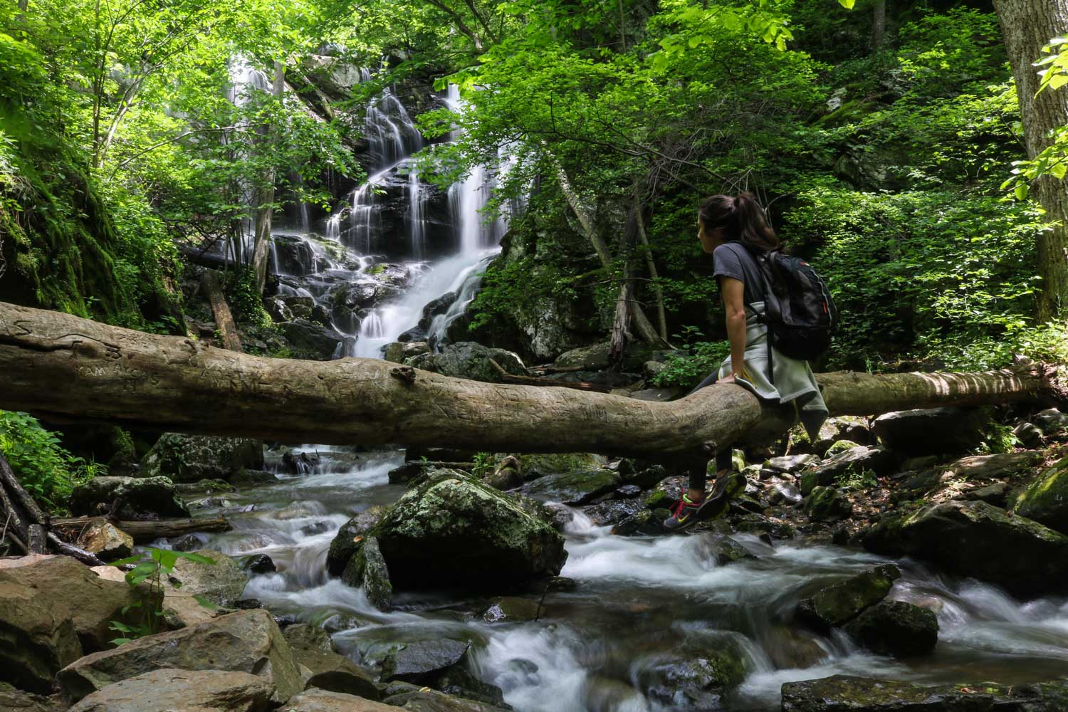 female hiker rests on fallen tree overlooking a running, rocky waterfall