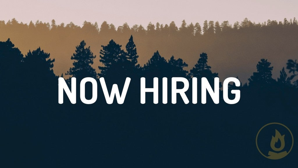 image of hazy layered trees in the forest with white text in foreground reading 'now hiring'