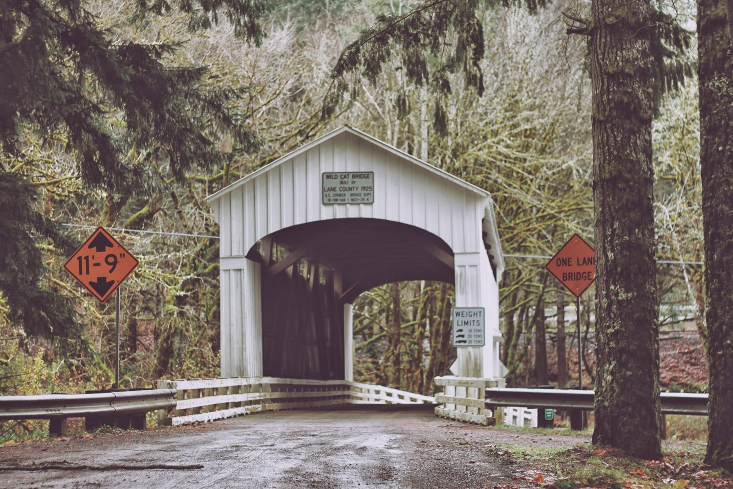 One of the covered bridges in Oregon's Lane County