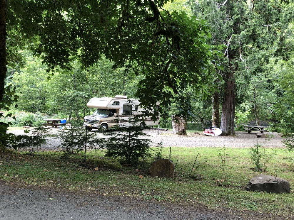 rv in wooded campsite at riverview rv park near north pole, alaska