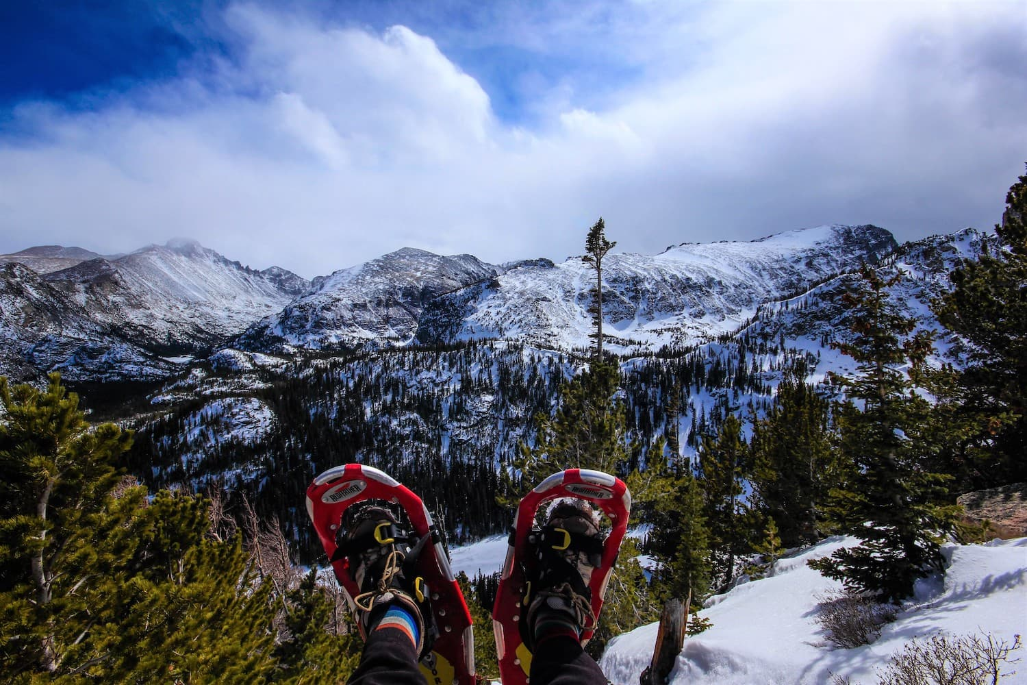 Snowshoes hanging over a cliff at Rocky Mountain National Park