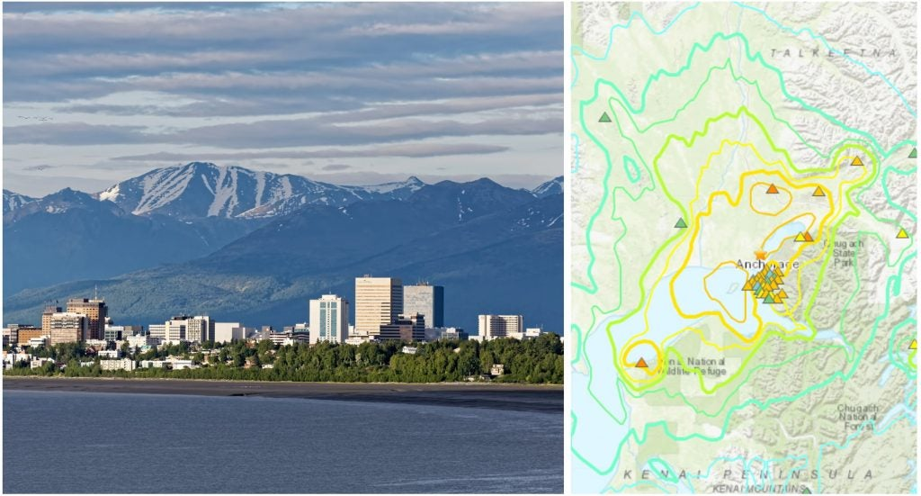 Alaska Earthquake Map and image of Anchorage