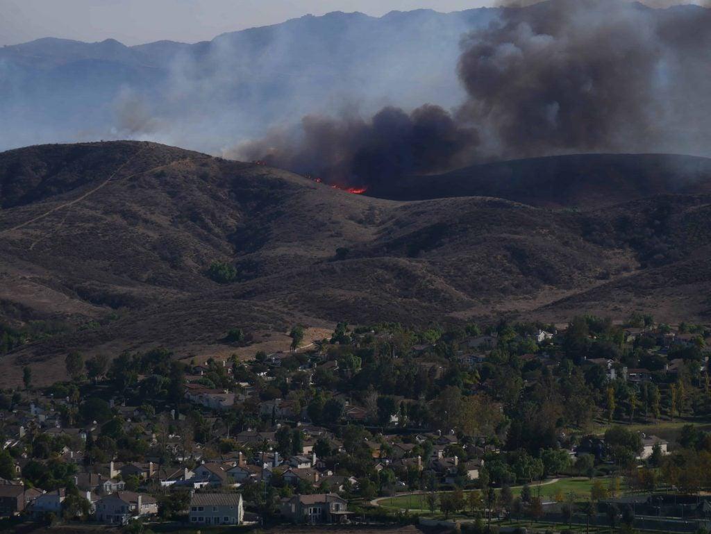 Woolsey Fire in Los Angeles County, raging through Malibu Creek State Park hillside