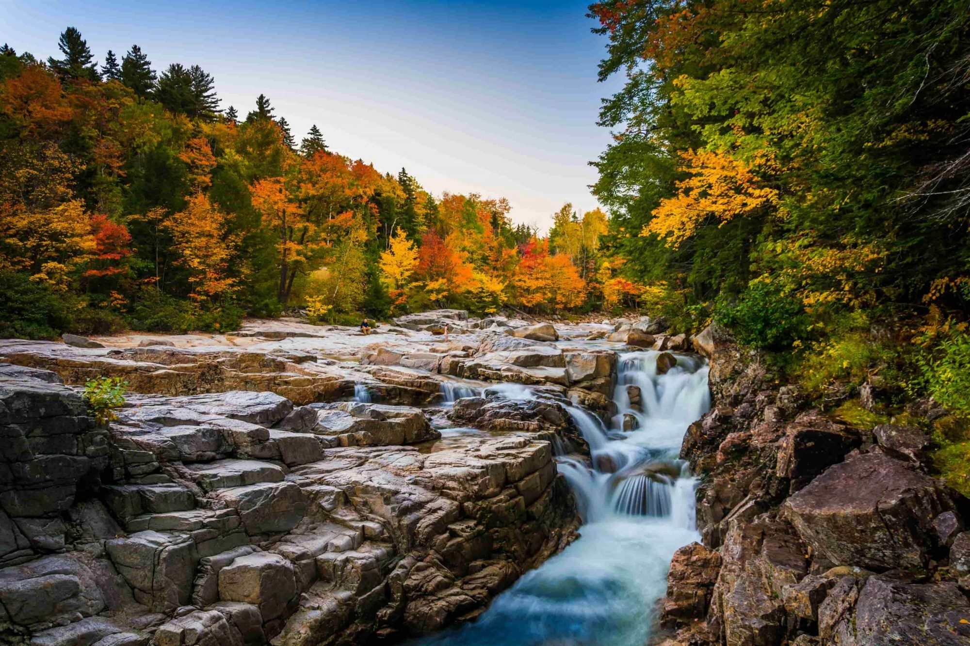 colored leaves adorn new hampshires rocky gorge