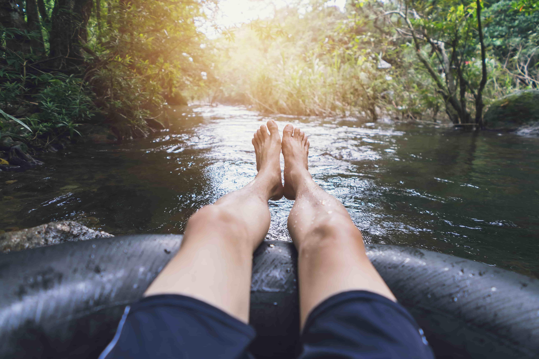 innertuber enjoys a river float trip in missouri
